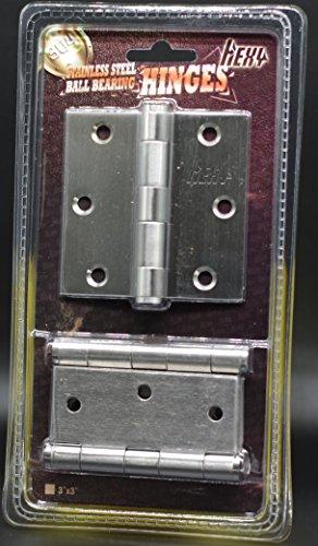 [3 x 3 in - Square Corner- 3 Pieces] Hexy-304 Stainless Steel Heavy Duty Door Hinges Commercial Grade