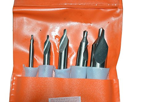 5 Piece Industrial Tools HSS M2 Center Drill & Countersink Set 60 Degree Included Angle - Pouch Packed by Omega Tools