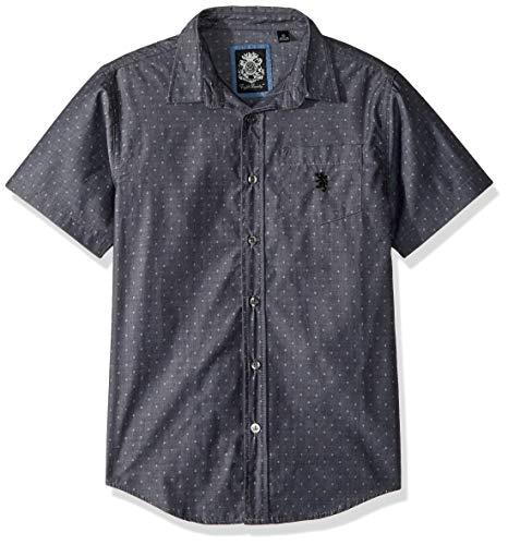 English Laundry Boys' Big Short Sleeve Printed Woven Shirt, Black 12