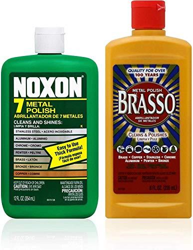 (Brasso Cleaner Bundle: Brasso Metal Polish (8oz) and Noxon 7 Liquid Metal Polish (12oz) 1 ea)
