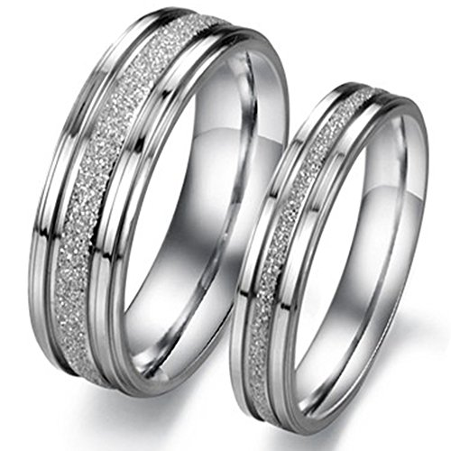 Mens 6mm Sandblast (Men Women Stainless Steel Channel Set Sandblast Finish Rings Couple Wedding Silver Promise Grooved Band)