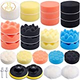 Augshy 31 Pcs Car Foam Drill Polishing Pad Kit, 3 Inch Buffing Pads,Sponge Set Kit with M10 Drill Adapter for Car Polisher