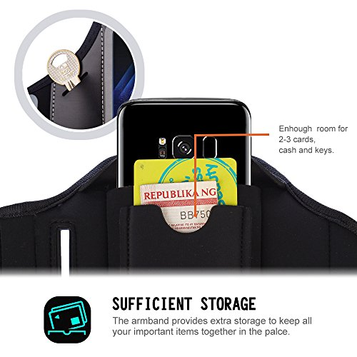 Samsung Galaxy S9 / S8 Sport Exercise Armband, JOTO Sport Protective Armband Case, with Key Holder, Credit Card / Money Holder, Sweat Proof, Best for Gym, Running , Exercise , Workout (Black)