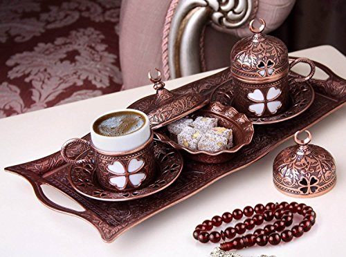 Premium Turkish Greek Arabic Coffee Espresso Serving Set for 2,Cups Saucers Lids Tray Delight Sugar Dish 11pc (Antique Brown) by CopperBull (Image #1)