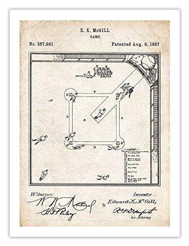 Babe Glove Vintage Ruth Baseball - Steves Poster Store BASEBALL BOARD GAME INVENTION 1887 PATENT PRINT 18X24 POSTER VINTAGE REPRO MCGILL NATIONAL BALLGAME BASE BALL MITT GLOVE BABE RUTH GIFT
