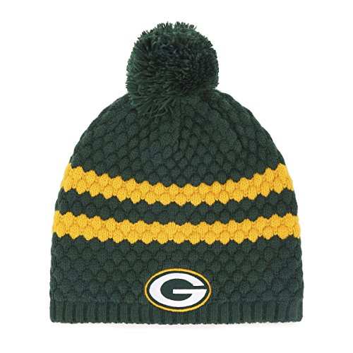 NFL Green Bay Packers Women's Winona OTS Beanie Knit Cap with Pom, Dark Green, Women's