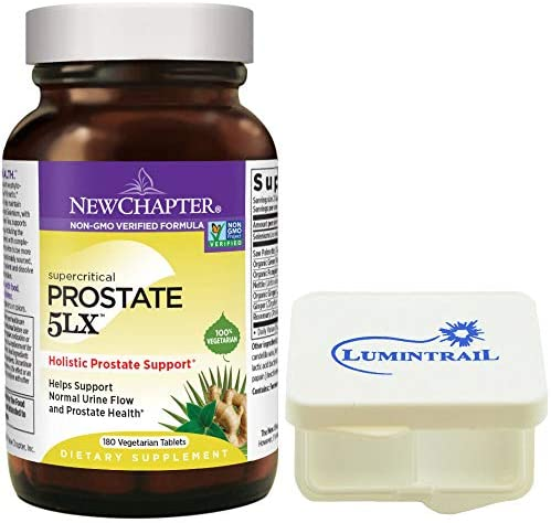 New Chapter Prostate 5LX Supplement for Men with Saw Palmetto – 180 Vegetarian Capsules Bundle with a Lumintrail Pill Case