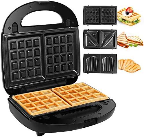 Gotoll Appareil à Croques Monsieur Gaufrier 3 en 1 Machine à Sandwich Maker Gauffre Presse Toaster Pain Plaques Remplaçables 750W - Noir