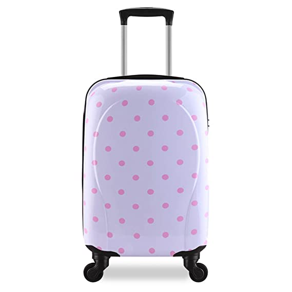 Valise trolley cabine Taille 55 cm avion low cost ABS ultra léger enfant 4 roues double 44L (BLANC)