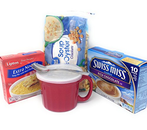 Feel Good Care package-Mug with handle, spoon, chicken noodle soup, oyster crackers and hot chocolate bundle
