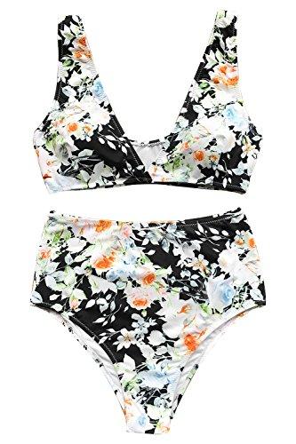 Print Bikini Set - Cupshe Fashion Women's Mist and Noct Print Bikini Set Beach Swimwear Bathing Suit (S)