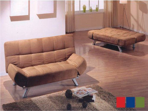Back & Arm Adjustable Sofa with Microfiber in Dark Brown ADS80617 by Click 2 Go (Image #1)