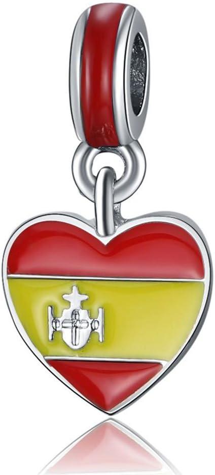 Waya European Beads corazón de bandera de España colgante de plata ...