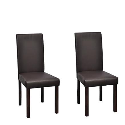vidaxl 2 sedie classiche in legno e ecopelle marroni per salotto ... - Sedie Da Soggiorno In Legno 2