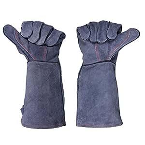 Guantes de piel Grill barbacoa, 932F (500) resistente al calor guantes para horno estufa chimenea cocinar hornear barbacoa guantes Unisex guantes largos de soldadura mangas