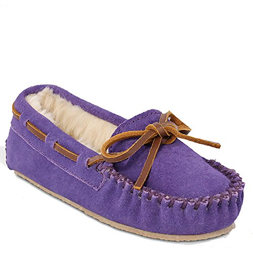 (Minnetonka Slippers Girls Cassie Rawhide Leather 8 Infant Purple 4814)