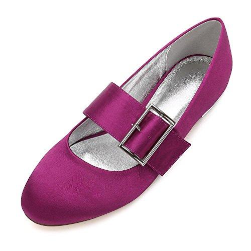 L@YC Women's Wedding Shoes 5049-23 Pumps Satin Closed Toe Flat Buckle Heel Wedding Party Dress Court Shoes Purple dcHzue2q8B