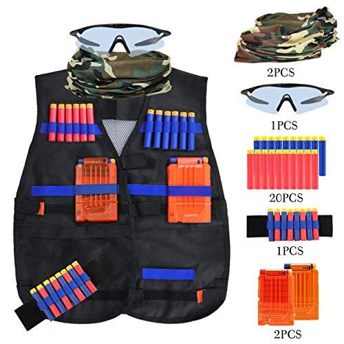 Kids Tactical Vest Kit, KKtick Elite Tactical Vest for Nerf Guns   N-Strike Gun Vest Jacket with 20 Bullets   2 Quick Reload Clips and Face Tube Masks   1 Protective Glasses and Wrist Band