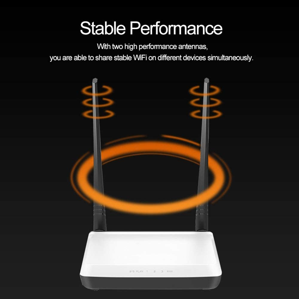 LIULU 300Mbps Wireless WiFi Router Wi-Fi Repeater Booster Multi Language Firmware 1 WAN 3 LAN Ports Easy Setup Color : White, Size : Russian