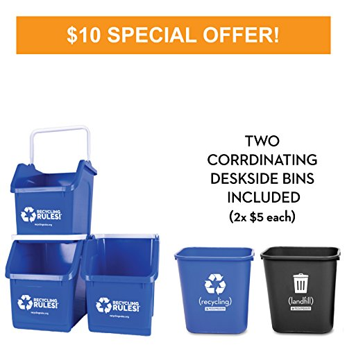 Deskside Paper Recycling Containers (Blue Stackable Recycling Bin Container with Handle 6 Gallon - 3 Pack of Bins + 2 Deskside Bins)