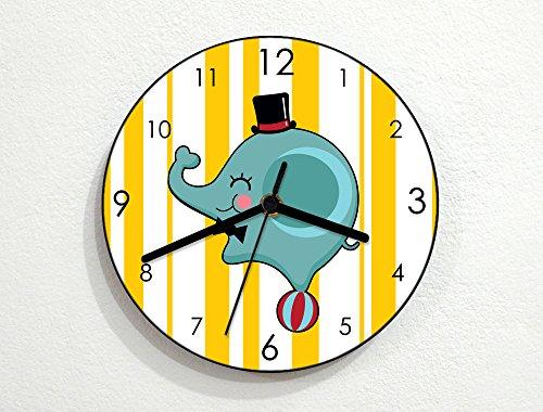 Circus Wall Clock (Cute Circus Elephant - Baby Nursery Kids Room - Custom Name Wall Clock - Yellow)