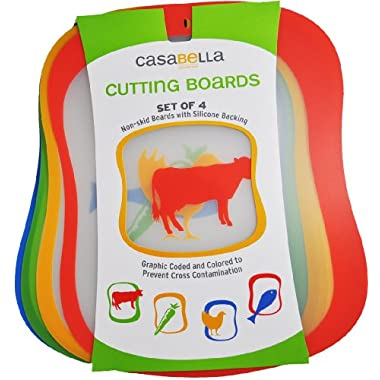 Casabella Cutting Boards Non-skid 16in x 12.5in Set 4 Color Coded To Prevent Cross Contamination
