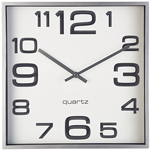 Modern Square Clock (Large Wall Clock, 11 Inch Modern Large Square Elegant Wall Clock- Quality Quartz, Battery Operated- Silver/Matte Gray, Decorative Home Clock- Bernhard)