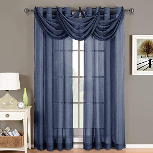Abri Navy Waterfall Grommet Crushed Sheer Valance, 24x24 inches, by Royal Hotel