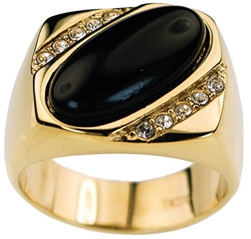 Sujak Jewelry Oval Black Onyx Men's Ring cz Accents 18K Gold Overlay Size ()