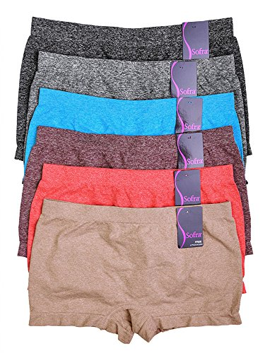 WS Women's Seamless Sofra Panty BoyShorts Stretch Classy Sexy Multi-6 pack (SolidBasic1-6pack) One Size