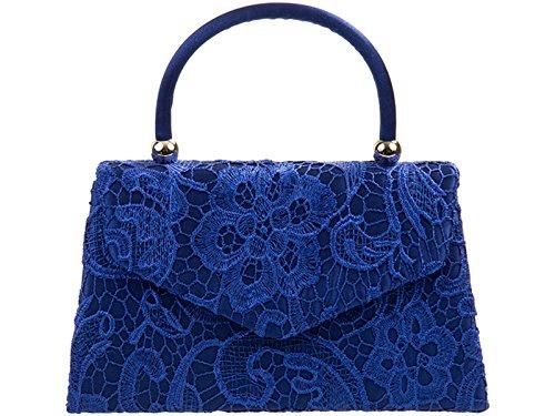 Silk Handbag Clutch Rose Mod Bag Blue Wedding Hand Royal Bnwt Bridal Evening Party Satin Flower Purse RtqwAUwx8E