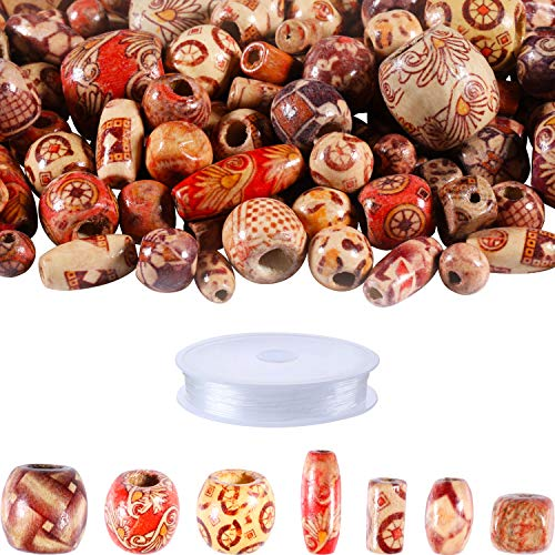 600 Pieces Natural Color Printed Wood Beads Multi-Color Round Wooden Beads Wooden Spacer Beads with Clear Elastic Cord for DIY Jewelry Making (Color Set 2)