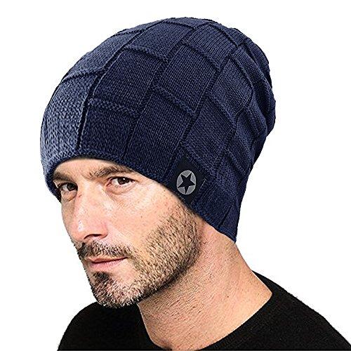 Goodbuy para Hombre Invierno de Punto Azul Gorras Lana ZaZrg