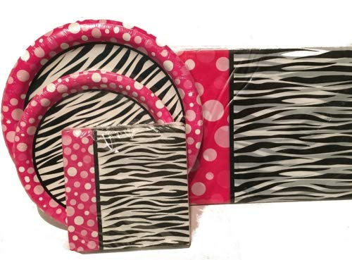 Pink Polka Dot Zebra Print Party Decorations including plates, napkins and tablecloth ()
