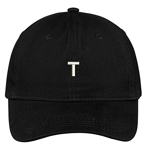 Trendy Apparel Shop Letter T Block Font Embroidered Dad Hat Cotton Baseball Cap - Black