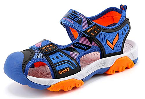 Littleplum Boys Girls Outdoor Sport Closed-Toe Sandals Kids Breathable Mesh Water Athletic Sandals Shoes (Kids Toe Shoes)