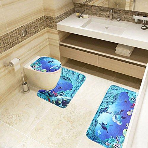 Non-Slip Memory Foam Contour Shaggy Bathroom Mat, Sea Dolphin Ocean Bathroom Non-Slip Pedestal Rug+Lid Toilet Cover+Bath Mat, Water Absorbent U-Shaped