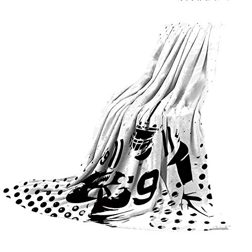 Pants Gridiron Flannel - SCOCICI Comfortable Printing Blanket and Washing Machine Washable,Sports,American Football Character Running Passing Gridiron Goal Dotted Art Graphic Design,Black White,59.06