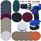 """Car Headlights DIY Polishing Kit Cloudy Lights Taillights Fog Lights Polishing Headlight Restoration Kit for Electric Drill, 3"""" Scouring Pads + High-Precision Waterproof Sanding Discs, Total 20PCS"""