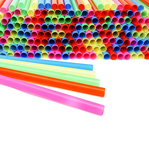 Smoothie boba jumbo straws extra wide thick fat big long large neon colored disposable plastic drinking giant straws bulk for milkshake cocktail kids party pack of 200 - 1/2 Wide X 8 1/2 long straws