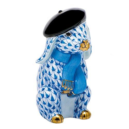 Herend Beret Bunny Rabbit Porcelain Figurine Blue Fishnet