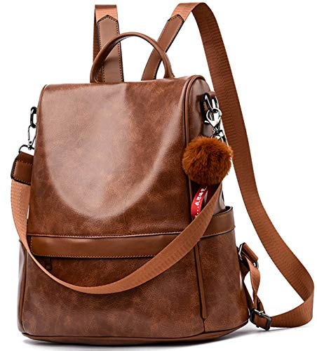 Women Backpack Purse PU Leather Anti-Theft Casual Satchel Shoulder Bag for Ladies (Brown)
