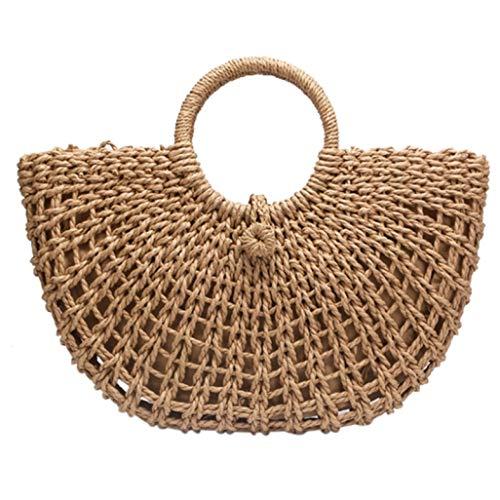 Half Moon Shaped Straw Bag Paper Rope Round Bucket Hollow Woven Bag Retro Casual Belt Buckle Handbag (Half Moon Buckle Belt)