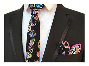"Men's Colorful Floral in Black Leisure Seft Ties 2"" Width Necktie for Parties"