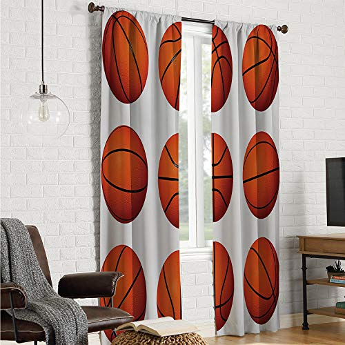 Mozenou Room Divider Curtain Doorway Curtain Sports,Different Positions of Basketballs Sphere Sporting Pastime Athletic Theme,Orange Black White W120 x L84 Inch (Furniture French Atlanta)
