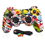 ps3 sixaxis controller - PS3 Controller Wireless Dualshock 3 - OUBANG PS3 Remote,Best DS3 Joystick Gift for Kids Bluetooth Gaming Sixaxis Control Gamepad Game Accessories for PlayStation3 with Mini Cable (Graffiti)