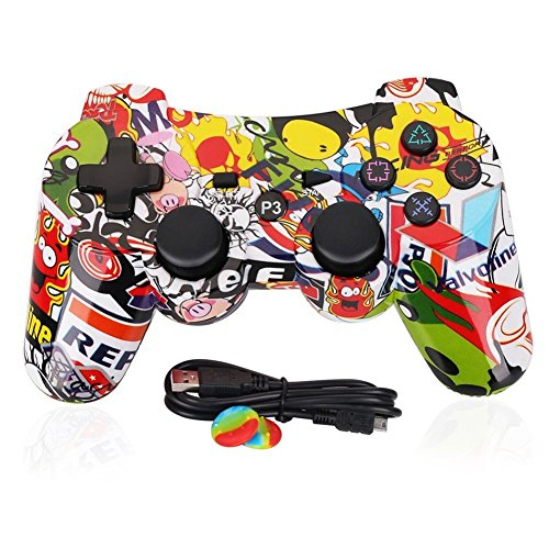 PS3 Controller Wireless Dualshock 3 - OUBANG PS3 Remote,Best DS3 Joystick Gift for Kids Bluetooth Gaming Sixaxis Control Gamepad Game Accessories for PlayStation3 with Mini Cable (Graffiti)