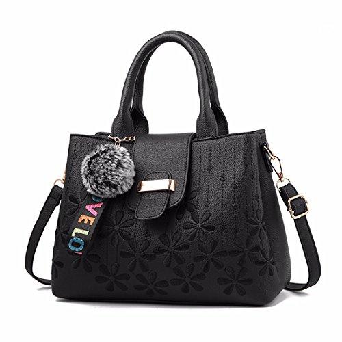 RUIREN Bolsa de Compras Portátil Femenina Messenger Shoulder Bag Negro