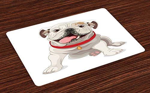 Ambesonne English Bulldog Place Mats Set of 4, Happy Puppy with a Red Collar Domestic Pure Breed Animal Illustration, Washable Fabric Placemats for Dining Room Kitchen Table Decor, Cream Red Pink