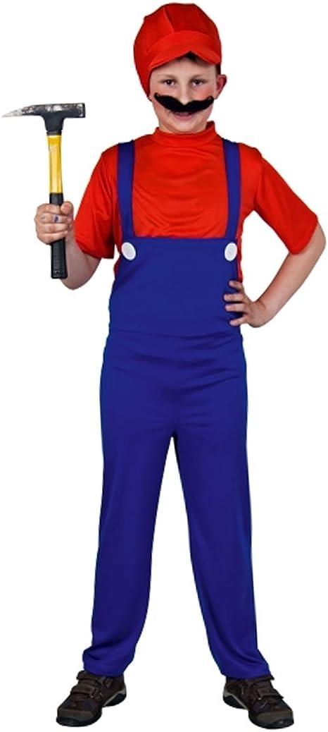 Disfraz Super Mario disfraz fontanero rojo-azul Mario traje de ...